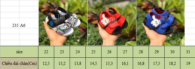 Bảng size dép sandal A6 Like cho bé