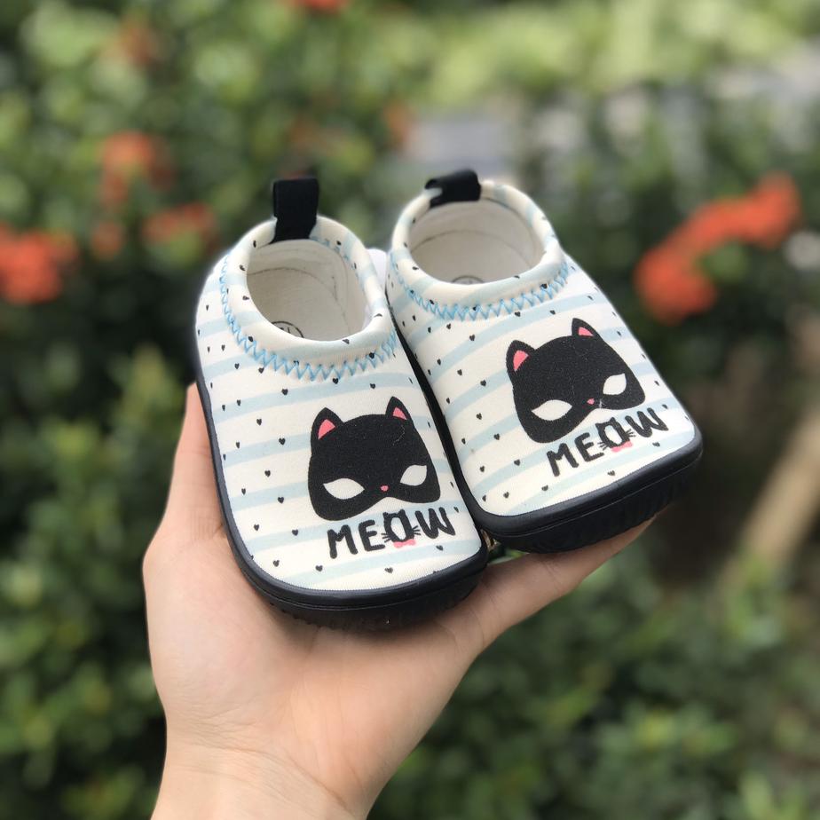 Giày Lười Trắng Mèo Đen Cho Bé