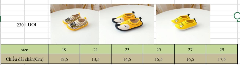 Bảng size giày lười mắt vàng cho trẻ em