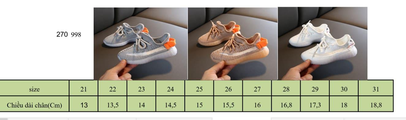 Bảng size giày thể thao CA998 cho bé