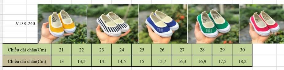 Bảng size giày slipon V138 cho bé