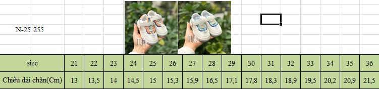 Bảng size giày thể thao N-25 cho bé