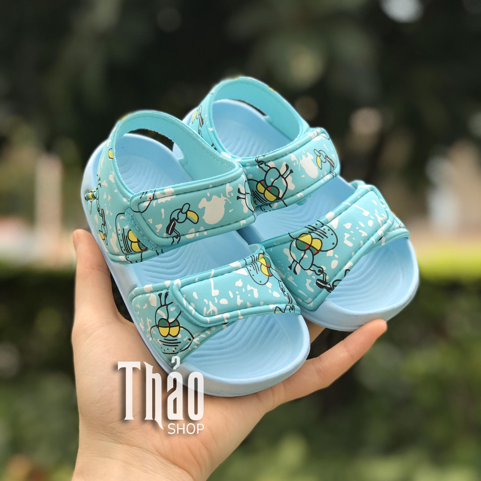 Dép sandal A16 bạch tuộc xanh cho bé