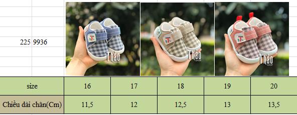 Bảng size giày quai dán 9936 cho bé